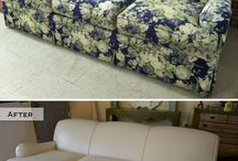 Painted sofa and armchair