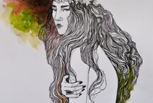 Illustrations / inspired by the witches, feminity and nature I paint muses.