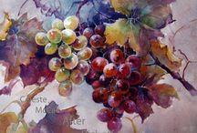 szőlő festve