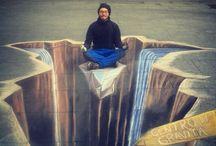 3d street painting~tutto dipende dal punto di vista / dipinti di strada anamorfismo, chalk art, side walk art, pavement art