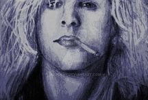 Drawings of musicians and actors..