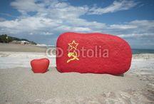 COMMUNISM NOSTALGIA / Symbols of communism on colourful stones
