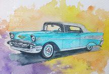 Serie de coches - Cars / Ilustraciones en acuarela de coches by Watermarycolors
