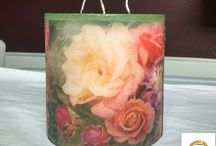 Decoupage on Candles / Decoupaging napkins or rice papers onto napkins with either decoupage glue or a heat embossing gun.