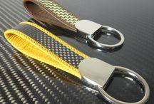 Carbon fibre / leather Keychain  / Carbon fibre / leather key chains