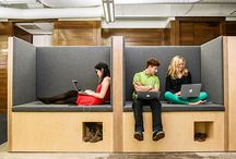 coworking designs / examples of layouts and furniture for coworking spaces