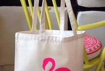 Flamingos! / Hand Screen printed flamingo tote bags and cushions