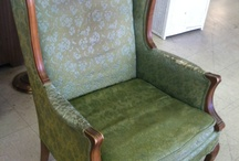 My green chair redo - inspiration & fabric / I purchased this green wing-back chair at the Salvation Army for $15 and plan to recover it in my next upholstery class. My initial thought is to make it bright and loud and maybe use a corresponding stripe or other fabric on the back. But I find I'm drawn to fabrics that aren't quite so bold. These are some of the possibilities. / by Lesley Weidenbener