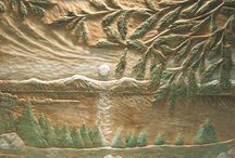 Carved Wood Reliefs / Fine Art, Woodcarving, Hand Coloring, Decorative Arts, Landscapes