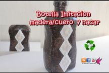 Botellas vidrio y plastico decoradas