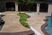 Painted or stamped concrete walkway