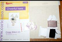 Królik - haft krzyżykowy i koralikowy Rabbit - cross stitch and bead