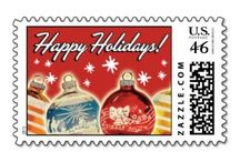 Christmas Card Stamps | Retro Christmas Card Company Designs / All of our original Retro Christmas Cards have a coordinating postage stamp available.