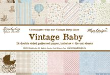 Vintage Baby / The collection is an addition to the Vintage Basics collections and is drawn to match the series. It comes in 12×12 and 6×6, perfect for your babyalbums and cards.