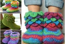 Knit & crochet slippers & boot cuffs