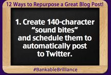 Bankable Brilliance: 12 Ways to Repurpose Your #Blog Post Content / If you've taken the time to create a brilliant blog post, it's worth it to find as many ways as you can to leverage the work that you've done. / by Tai Goodwin
