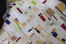 Improvisational quilts.