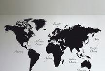 World map wall