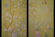 The best wallpaper for small spaces / 100% silk wallpaper, 100% handmade metallic wallpaper with custom antique finishing  Hand-painted chinese painting/ Hand-painted chinoiserie panels @ NSR HANDCRAFTS