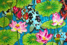 KOI FISH SILK PAINTINGS : JEAN-BAPTISTE / A collection of  koi silk paintings by master silk artist Jean-Baptiste of Saint Lucia.