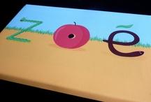 Tableau déco chambre fille / Tableau personnalisé avec prénom - pour la décoration de chambre bébé et chambre fille