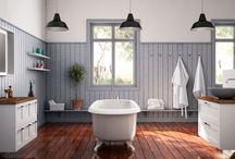 Bath & Laundry room / Bad, klesvask, badekar, landlig stil, vask, servant