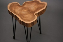 wooden tree ring table
