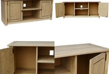 Wooden TV Stand Living Room Furniture Storage Solid Pine Beautiful Home Unit
