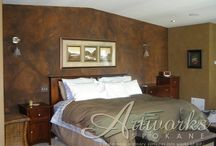 Designer Walls / Custom wall finishes done with plaster, glaze, cement, metallics, and paint.