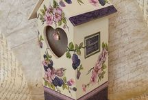 Tea boxes / Tea container, decoupage, mixmedia.