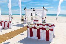 A Burgundy Red Beach Wedding