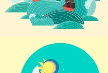 TRAVEL ILLUSTRATION : Sea / I'll be honest, the sea scares the bejesus outta me. Too much open water and no sight of land is not my ideal escape - but these illustrations make it a tad more appealing...