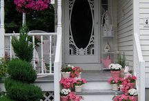 "Please come on in ... / I enjoy seeing an inviting entrance to a home - it doesn't take much, a  colourfully painted door, a wreath on the door, planters, one or many planted according to the season. All or any of these things say, ""Welcome""."
