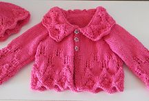 Hand knitted / Layla's jacket and bonnet in hot pink