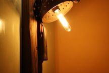Lamp, Antique copper colander / Lamp, Antique copper colander, mood lighting, wall sconce made from copper, Edison bulb... PunkTrek