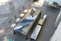 Lava stone / Italian made Lava stone dining creations from Domiziani. Available from Outdoor Elegance