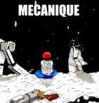 """exode méchanique / Projet de BD dans l'univers de """"mercenaires des neiges"""", Le voyage d'une mécano et d'un enfant à travers le désert afin d'atteindre les montagnes enneigées au loin"""