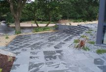 Slate Floor Inspriation / Slate Paving has a riven surface' providing natural slip resistance.  With sawn sides, our Slate Paving is ideal for modern contemporary designs, is hard wearing and solid in appearance.
