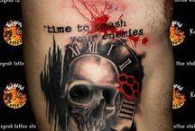 Trash style red black tattoos / Trash style red black tattoos