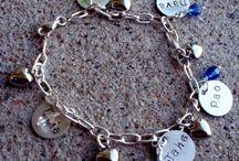 Hand Stamped Bracelets / Hand Stamped Name Birthstone Bracelets