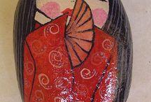 Dipingere pietre / Pietre dipinte con soggetti vari