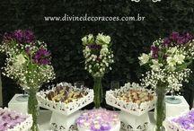 Mini Wedding Branco e Lilás / Mini wedding branco e lilás. Realizada em março/2015, esta foi nossa terceira decoração. Um mini casamento para uma festa intimista, com amigos e familiares. Veja as novas festas em http://www.divinedecoracoes.com.br