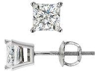 Princess Cut Diamond Stud Earrings / King of Jewelry's princess cut diamond stud earrings feature stunning princess cut diamonds that can complement any classy outfit.