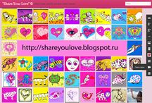 """Share Your Love"" © offers free colorful art and video hearts"