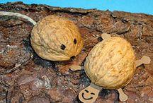 *Tiere basteln mit Nüssen* / Bastelideen für Tiere aus Walnüssen und Haselnüssen