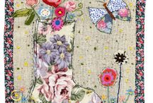 Sharon Blackman... / Free-lance textile artist using recycled textiles , buttons and applique techniques to créate folkart  pictures and cards...