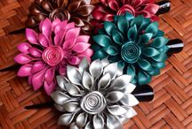 Leather Flower Hair Clips / Beautiful Leather Flower Hair Clips hand made in Thailand by Busadee Shop.  Ships from U.S.A