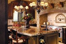 MEDITERRANEAN STYLE KITCHENS / Flared hoods, hand-painted tile, warm wood cabinets, beamed ceilings and arched cooking alcoves are just some of the features that put Spanish revival kitchens on the most-wanted list. Sheila Schmitz
