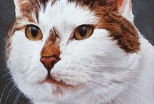 ETSY SHOP - my cats / My own cat portrait oil paintings and drawings available as custom commissions.
