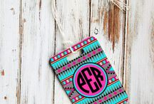 Monogrammed key chains / luggage tags